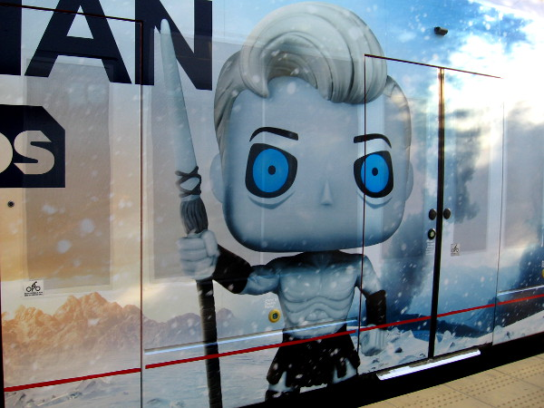 This trolley wrap image has Conan turned into a White Walker from Game of Thrones.