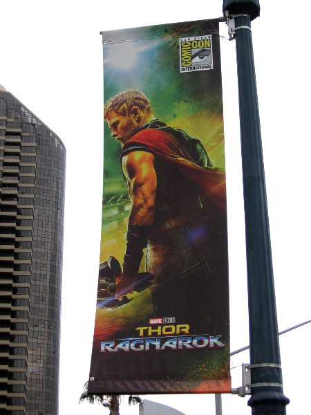 Thor, one of Marvel Comics' Mighty Avengers, appears on a banner for 2017 San Diego Comic-Con. I depicts a scene from the upcoming movie Thor: Ragnarok.