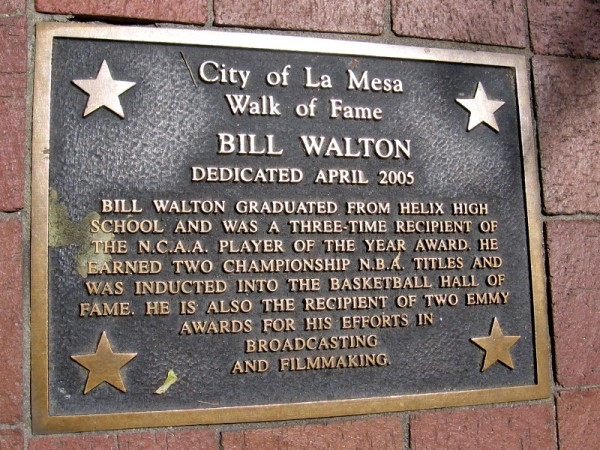 Bill Walton graduated from La Mesa's Helix High School. He was inducted into the NBA basketball Hall of Fame as one of the greatest players of all time.
