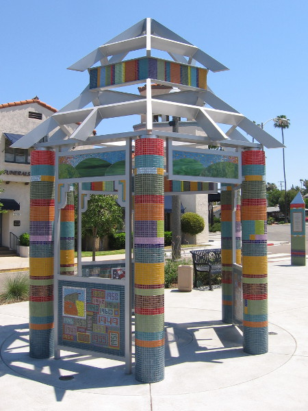The Lookout was created by a family of artists--Jesus Dominguez, Mary Lynn Dominguez and Amy Dominguez. It depicts the colorful history of La Mesa.