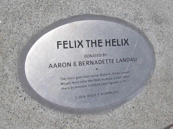 Felix the Helix. The story goes that Rufus King Porter named Mount Helix after the Helix aspersa, a European garden snail that was discovered locally.