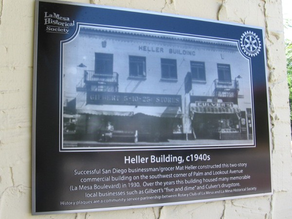 La Mesa Historical Society photo of the Heller Building in the 1940s. It has housed many businesses including Gilbert's five and dime and Culver's drugstore.