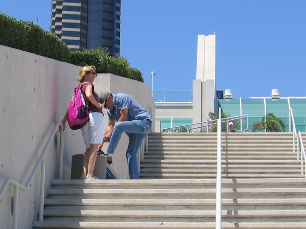 A momentary pause on some steps.