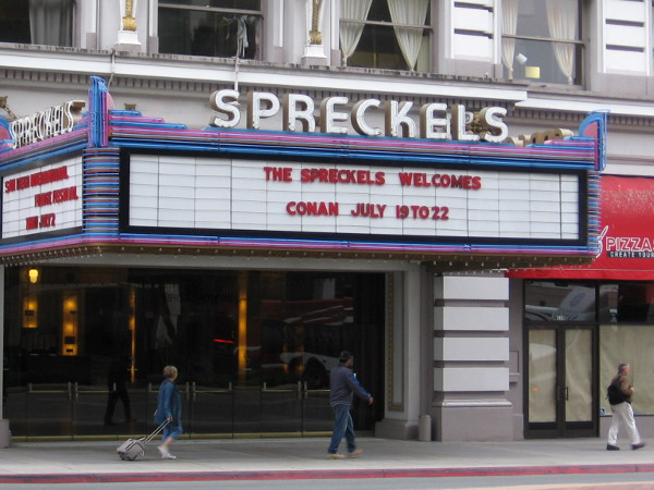 Conan O'Brien's funny TBS talk show will be in San Diego during Comic-Con, as the marquee at the Spreckels Theatre on Broadway attests!
