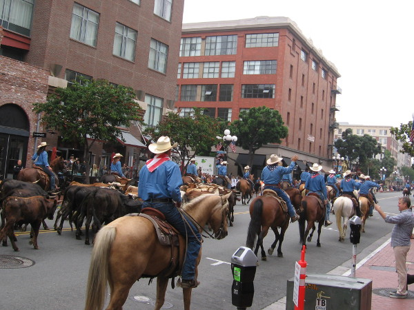 A rather unusual sight proceeds north up through San Diego's historic Gaslamp Quarter.