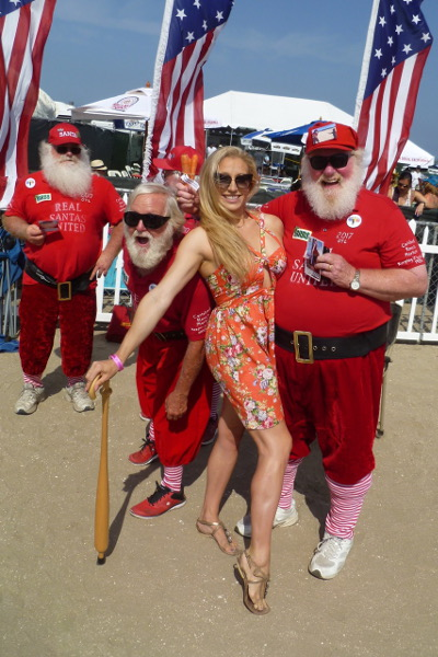 Kristin Francy, Miss Emerson in 2015, and a team of sporty Santas at the Over The Line World Championship tournament in San Diego. Photo courtesy Bill Swank.