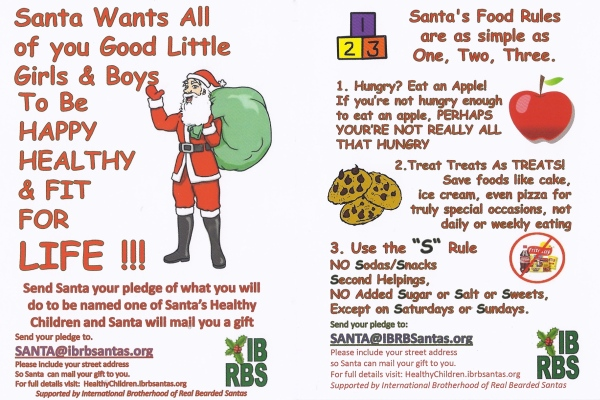 Front and back of cards that Sustainable Santa hands out at farmers markets throughout San Diego County. (Click to enlarge.) Image courtesy Bill Swank.