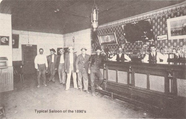 Historical photo of the First and Last Chance Saloon, inside San Diego's rowdy Stingaree District.