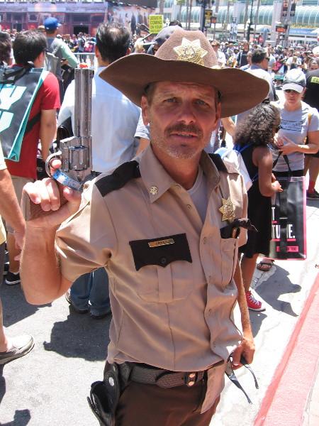 Cosplay of Sheriff Deputy Rick Grimes from The Walking Dead, Season One.