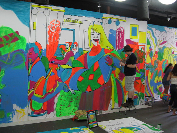 A scene from Broad City comes to life inside Comedy Central's enormous coloring book during 2017 Comic-Con.
