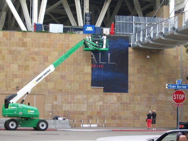 A wrap is going up on Petco Park promoting History channel's new series Knightfall, concerning the Knights Templar.