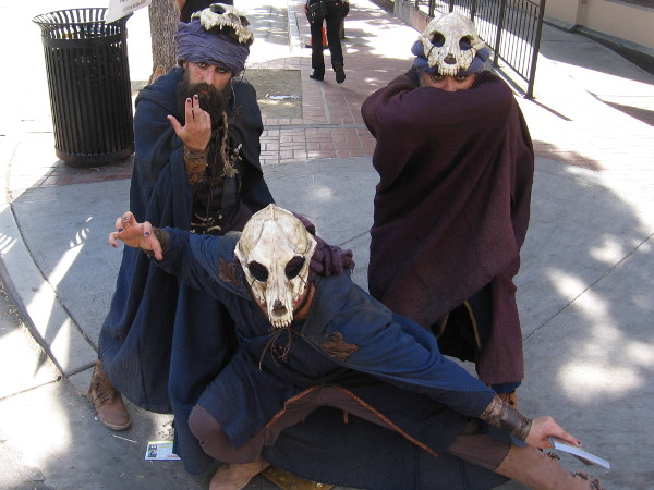 Scary cosplay outside in the Gaslamp promoting the TV series Medinah. It's late Wednesday afternoon. It's 2017 San Diego Comic-Con Preview Night!