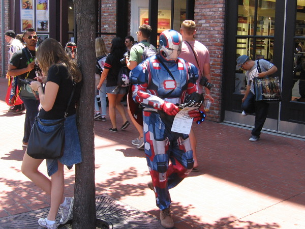 The Iron Patriot is on patrol in the Gaslamp during Comic-Con.