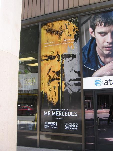 Graphic in store window promotes ATT orginal series Mr. Mercedes.