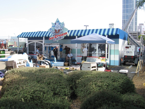 Getting the Ice Cream Citadel ready in the Petco Interactive Zone.