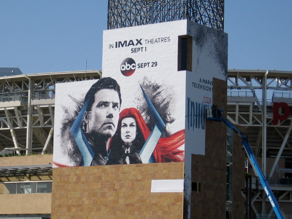 A cool Inhumans wrap is being applied to Petco Park!