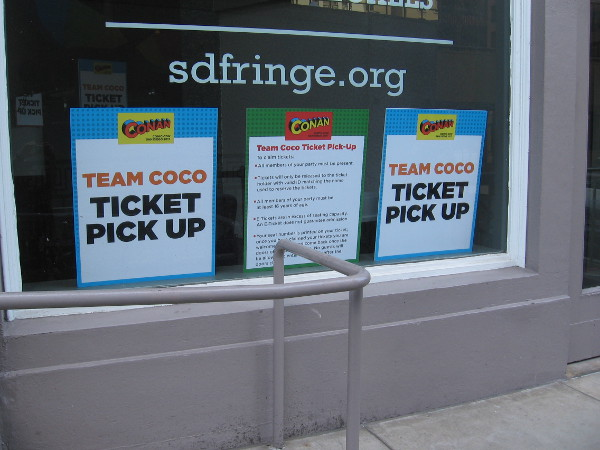 Here on First Avenue next to the Spreckels Theatre is where a huge line will grow. Team Coco ticket pick up!