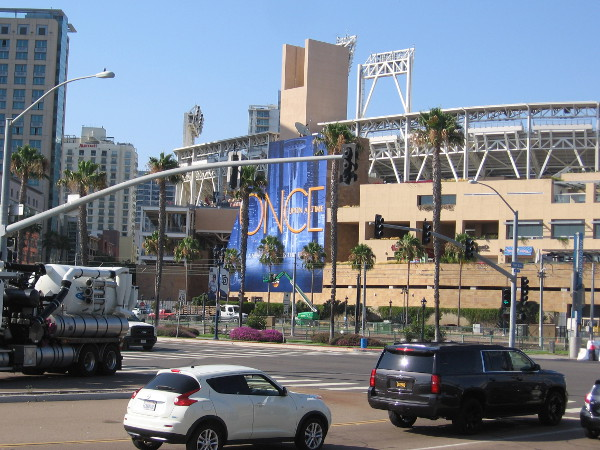 Looking back toward Petco Park, I see the Once Upon a Time wrap.