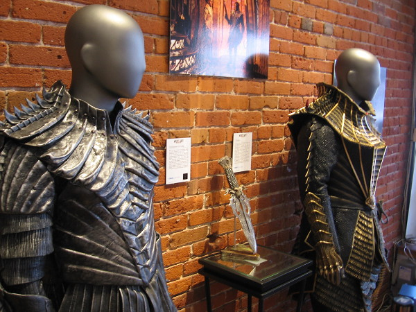 Klingon warrior uniforms on display at the Star Trek Discovery exhibit. Each member or follower of a House is equipped with a unique style of armor.