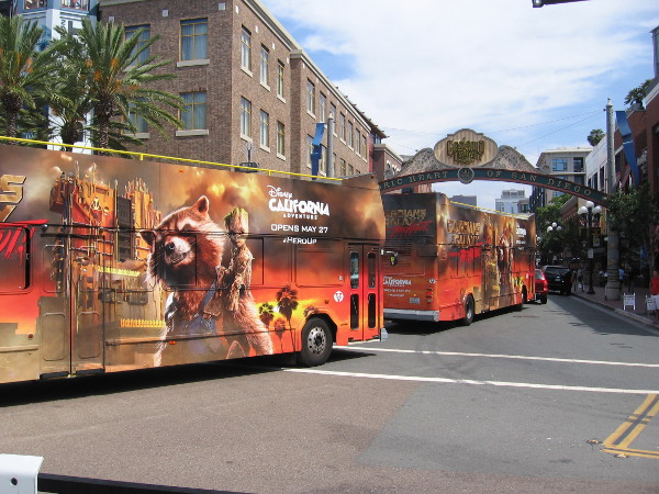 Buses advertise the new Guardians of the Galaxy attraction at the Disney California Adventure park.