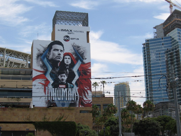 The very cool Marvel Inhumans wrap is finished on Petco Park. It's my favorite this year.