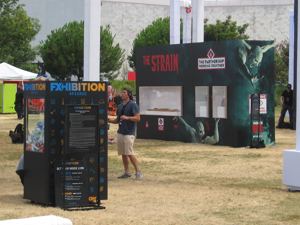 Looks like The Strain will have a creepy exhibit in the FXhibition area behind the convention center.