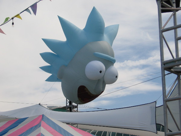 A big Rick head balloon, from Rick and Morty.
