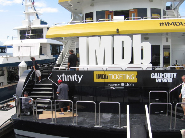 The IMDb superyacht is being prepared behind the convention center.