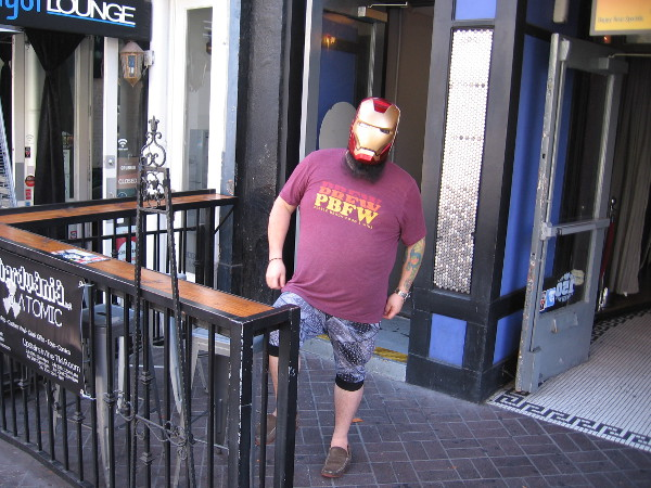 I spotted Iron Man outside Atomic in the Gaslamp. He says they have cool Comic-Con exhibits upstairs.