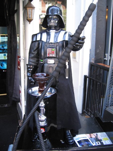 This cool Darth Vader with hookah was outside the Myst Lounge.