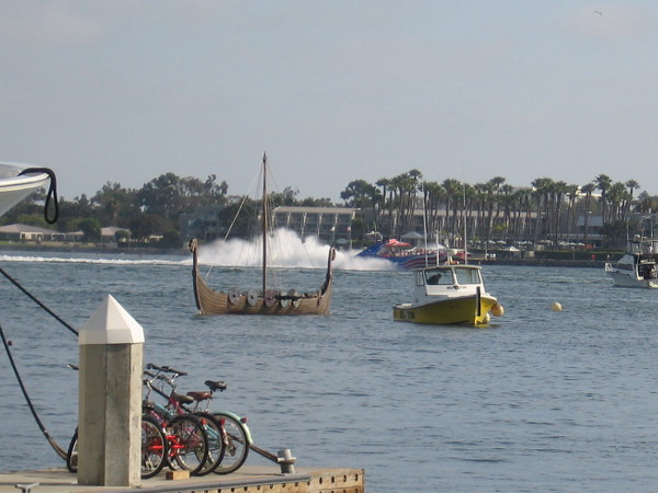 It looks like they were testing the Viking longship out on San Diego Bay. It will be used for the Viking funeral Friday evening!