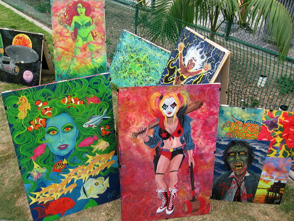 A friendly artist has lots of cool art for sale along MLK Promenade near Harbor Drive and First Avenue.