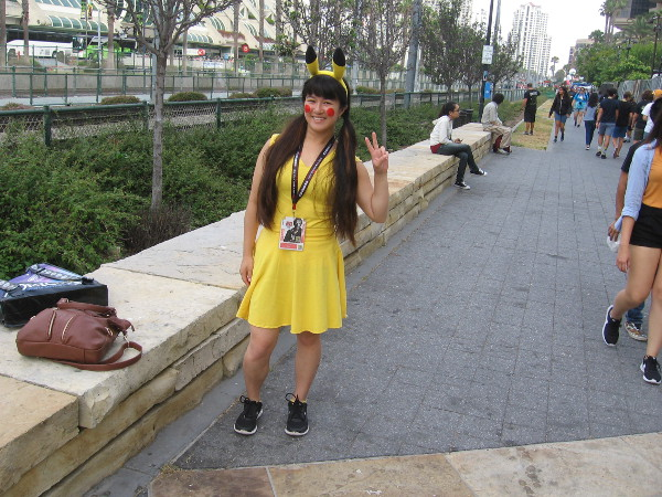 A friendly Pikachu cosplay.