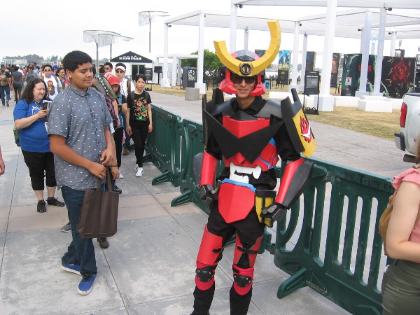 An elaborate, very cool cosplay of Gurren Lagann.