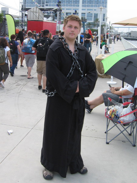 Game of Thrones cosplay. I think he said this is Tyrion Lannister.