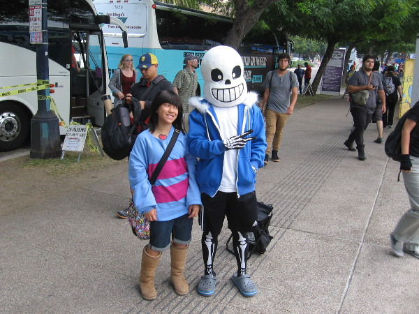 A cosplay of Sans from Undertale.