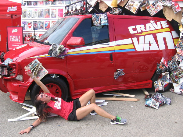 Jack in the Box's Crave Van smashed through a wall of comic books in the Interactive Zone! Too much fun!