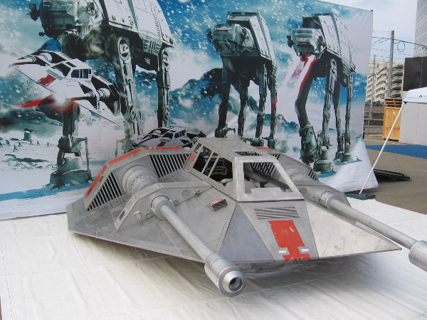 A super cool full size replica of a Star Wars T-47 snowspeeder created by hobbyists who belong to Real Movie Toys.