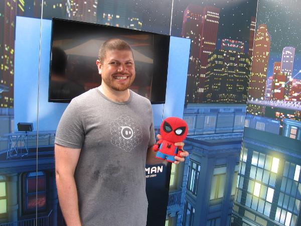 A guy from Sphero shows off their new Spiderman robotic toy that interacts like Alexa with voice recognition.