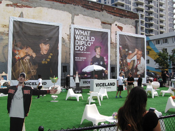 A parking lot downtown has been converted into a Viceland promotional area.