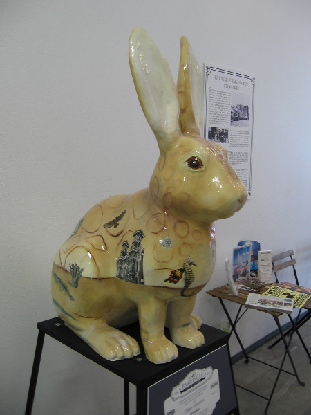 Willabee, by artist Matt Forderer. This rabbit has traveled through time to collect historical images of San Diego.