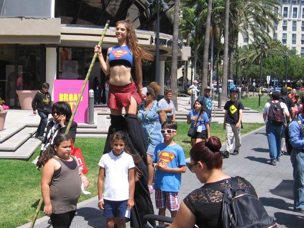 Supergirl on stilts!