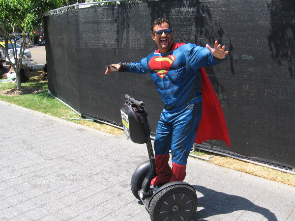 Superman had to settle for a Segway. Some kryptonite de-powered him for the moment. I think Batman might have done it.