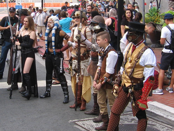These cool cosplay enthusiasts were part of the FOX television Comic-Con broadcast. Star Wars and steampunk!