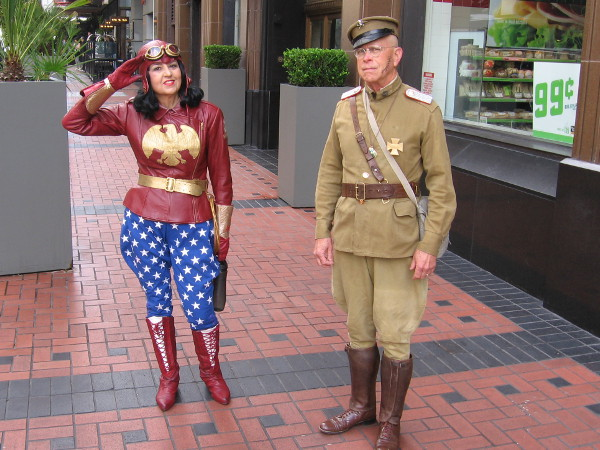 An old school Wonder Woman is getting ready to defeat a WW1 German general. He might be Erich Ludendorff, a character in the recent hit movie.