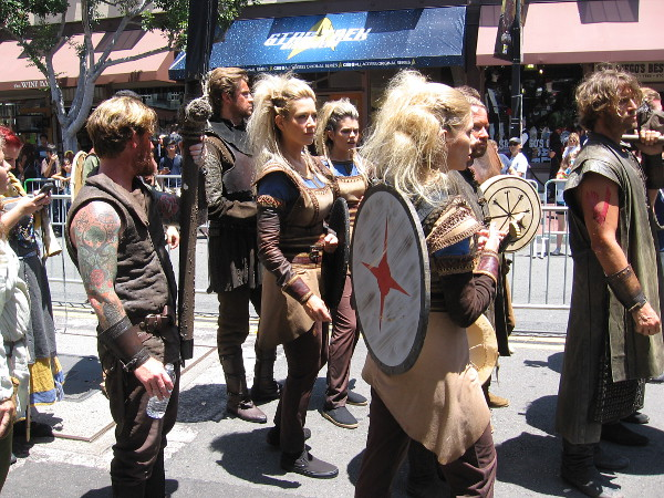 A bunch of Vikings have assembled in the Gaslamp to promote the History Channel's popular program.