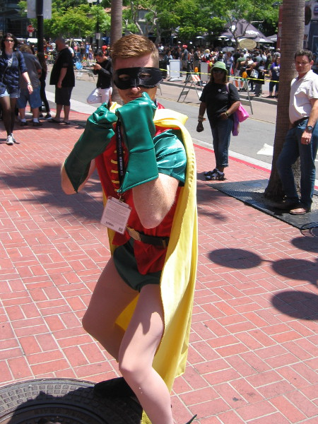Cosplay of Robin. He must think I'm a crafty supervillain.