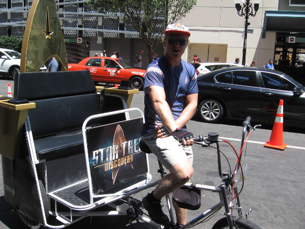 Max offered me a ride on his cool Star Trek pedicab!