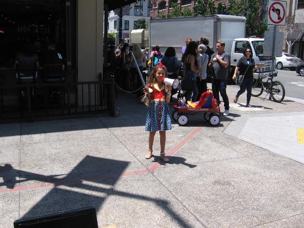 Wonder Woman was waving her God Killer sword about, so we kept a safe distance.