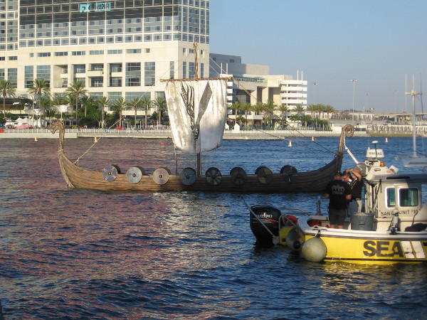 A 45 foot Viking longship floats on San Diego Bay. Its burning will be a central attraction of the event.